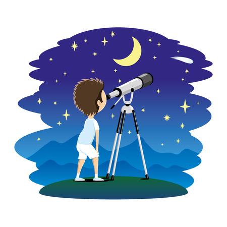 L'enfant observe les étoiles dans un télescope.