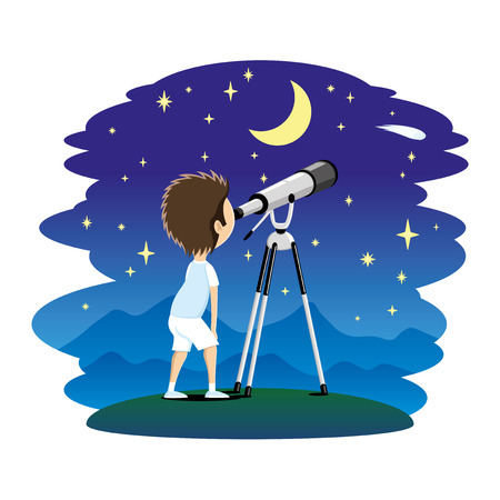 Child observes the stars in a telescope. Illustration