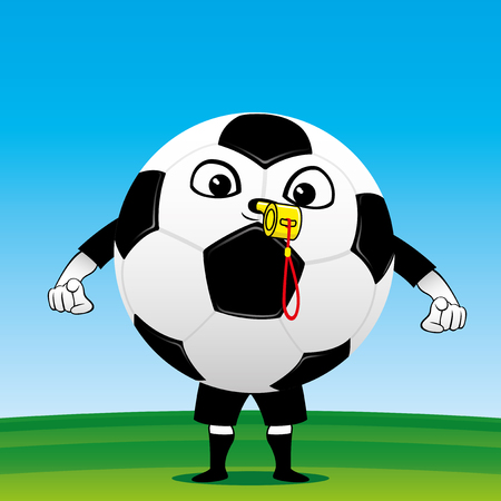 Soccer ball referee on the soccer field.