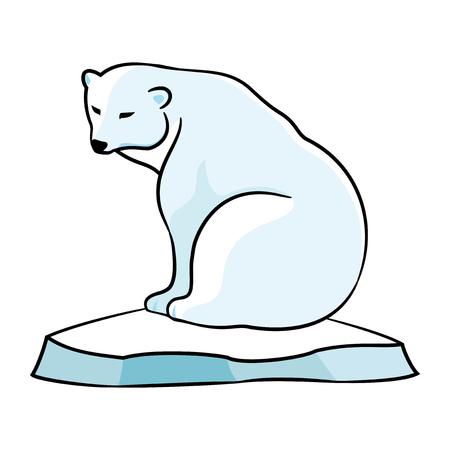 Polar bear on an ice floe. Illustration