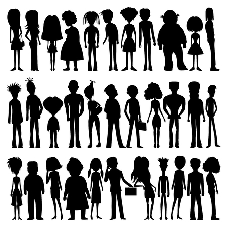 Set of silhouettes of cartoon people.
