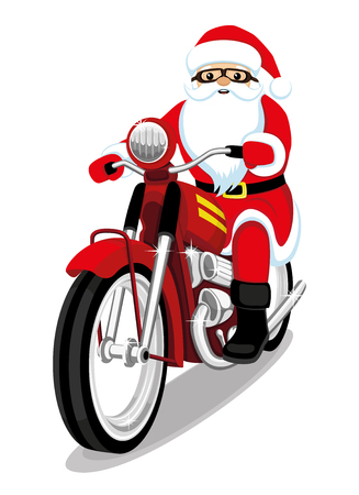 Santa Claus on a red motorcycle.