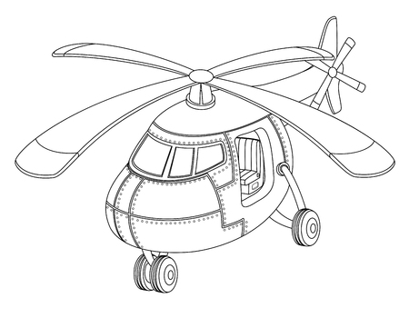 Coloring book with a helicopter. Vettoriali