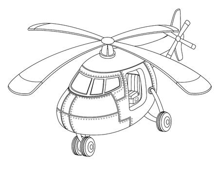 Malbuch mit einem Hubschrauber.