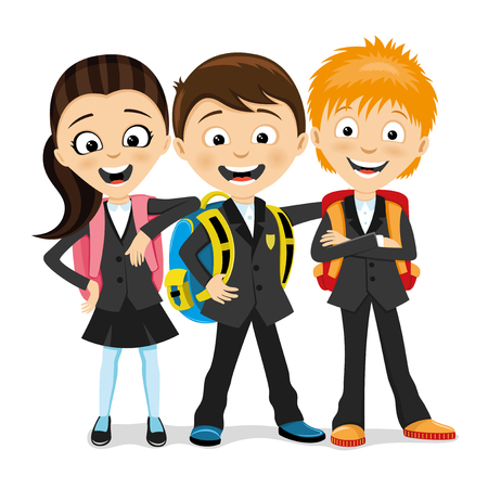 Cheerful school children with school backpacks.