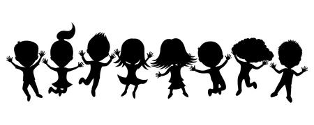 Cartoon silhouettes of children in a jump. Ilustração