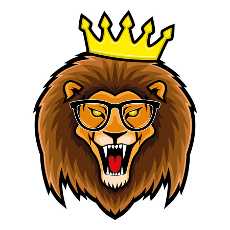 Lion in glasses and crown.