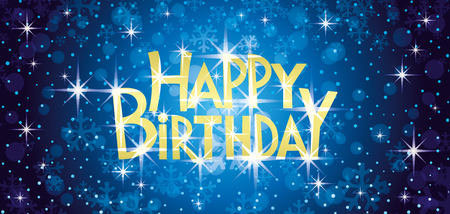 Happy birthday blue greeting card with the stars.