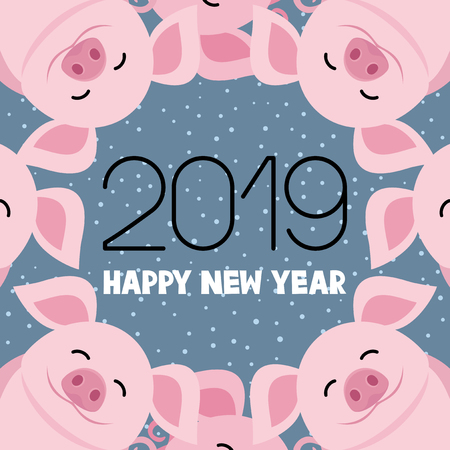 Cheerful pig symbol of the New Year 2019. Illustration