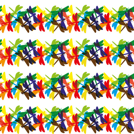 Many colored dragonflies. 向量圖像