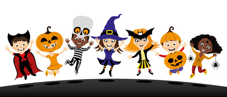 Group of children in costumes for halloween.