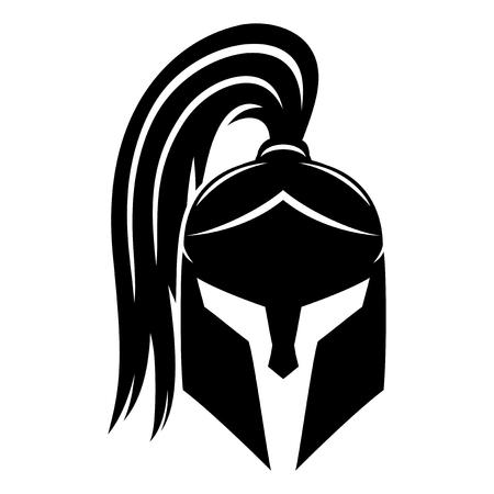 Signe de casque spartiate noir. Vecteurs