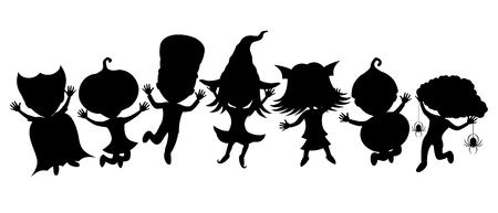 Children in costumes for halloween. Illustration