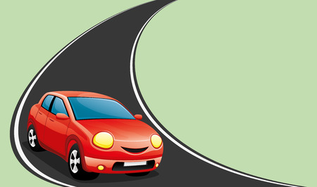 Red car on the road. Stock Illustratie