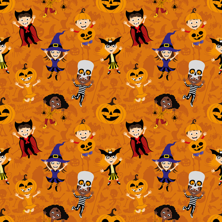 Children in costumes for hallowee.