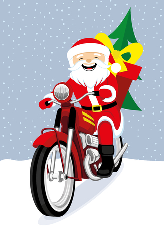Santa Claus on a red retro motorcycle. Illustration