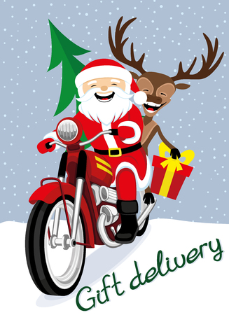 Santa Claus and reindeer on a red retro motorcycle.
