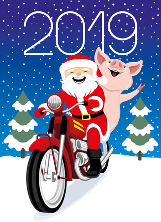 Cheerful Santa Claus and pig on a red retro motorcycle.