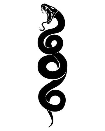 Signo de una serpiente negra. Ilustración de vector