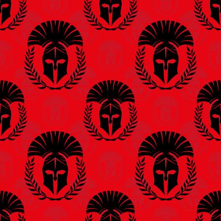 Nahtloses Muster mit spartanischen Helmen.