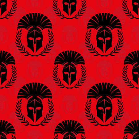 Seamless pattern with spartan helmets.