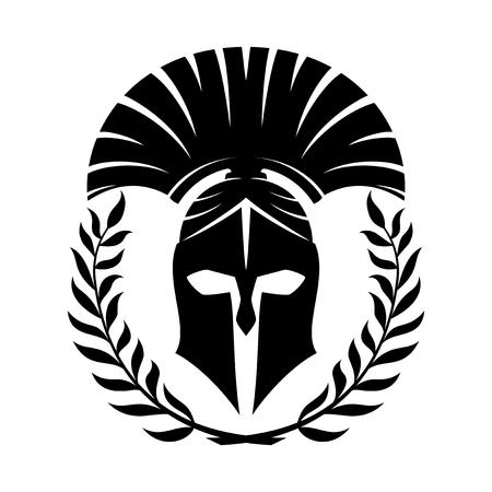 Schwarzer spartanischer Helm.