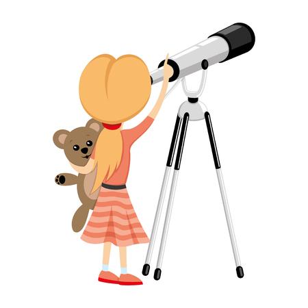 Girl and telescope. Ilustração