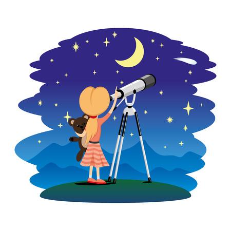 Mädchen beobachtet die Sterne in einem Teleskop. Vektorgrafik