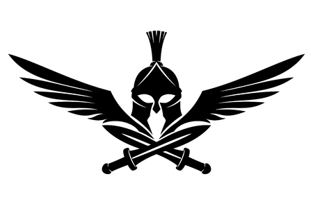 Spartan helmet with swords and wings. Imagens - 110687946