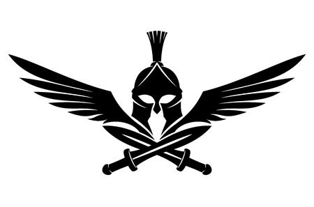 Spartanischer Helm mit Schwertern und Flügeln. Vektorgrafik