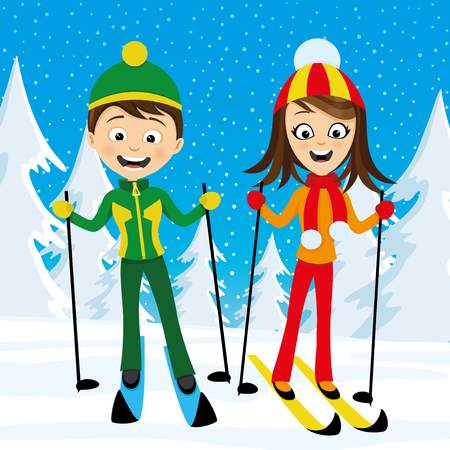 Cheerful skiers in the winter snowy forest.