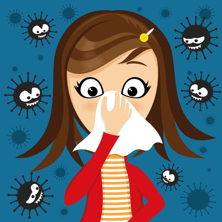 Girl has runny nose and viruses around. 矢量图像