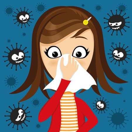 La fille a le nez qui coule et des virus autour.