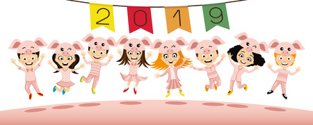 Children in costume piglets jumping.