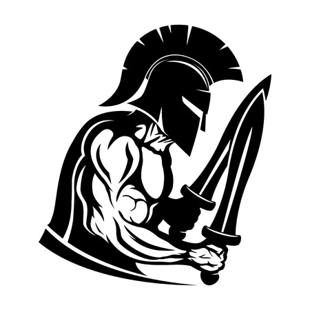 Spartan warrior with two swords.