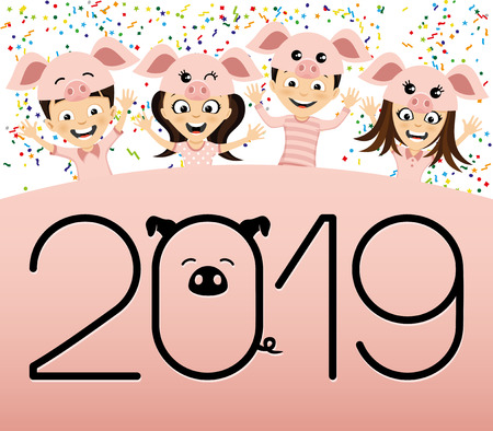 Children in costume piglets symbol of the new 2019 year. Illustration