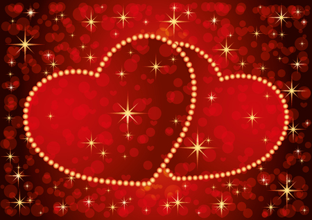Two romantic hearts on a red starry background. Archivio Fotografico - 116678468