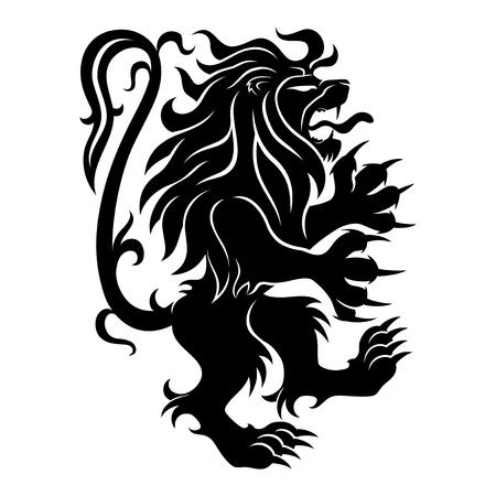 Black lion sign on a white background. Vecteurs