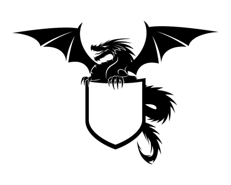 Dragon with shield.