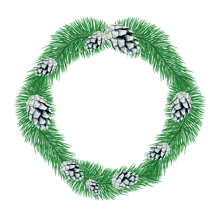 Wreath of pine branches with cones. Ilustrace