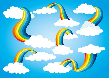Rainbow icon set with clouds.