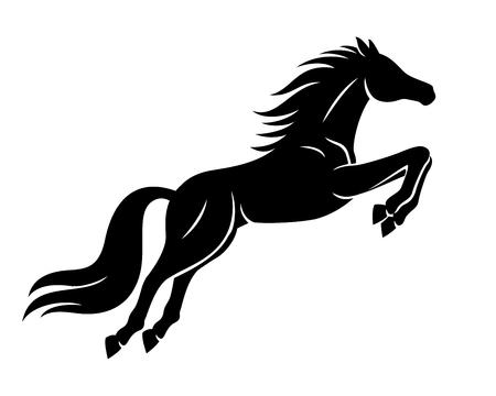 黒い馬の看板。 ベクターイラストレーション