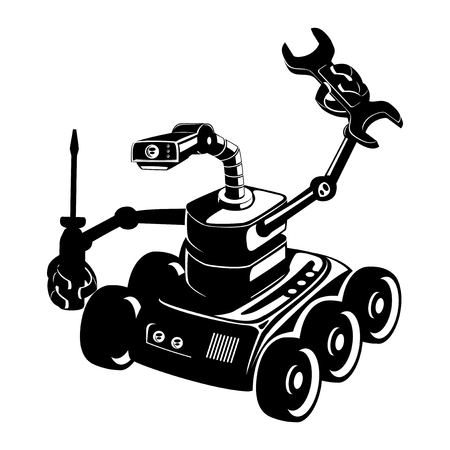 Black robot sign with screwdriver and wrench. Ilustrace