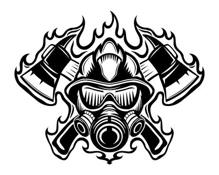 Bombero con hachas en señal de llama. Ilustración de vector
