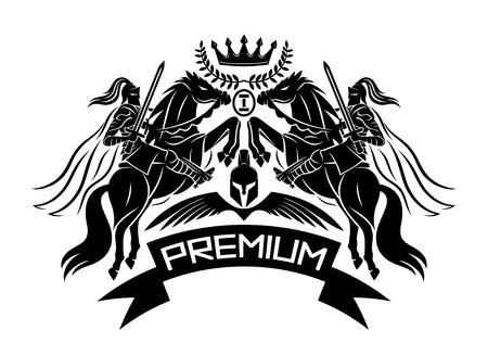 Premium sign with knights. 版權商用圖片 - 124859590