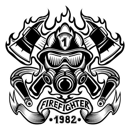 Feuerwehrmann mit Äxten im Flammenzeichen. Vektorgrafik