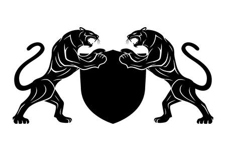 Dos panteras negras con escudo.