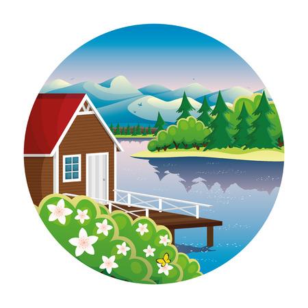Casa sul lago. Vettoriali
