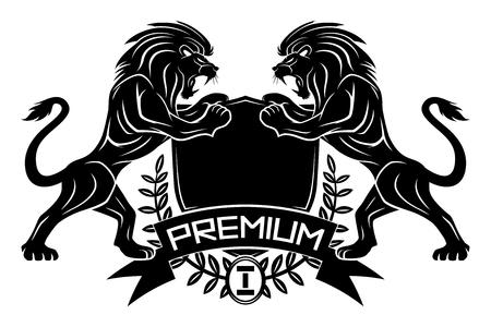 Cartel premium con leones y escudo.