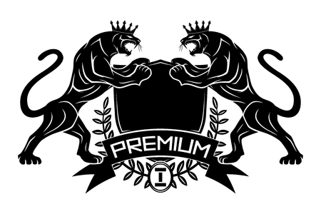 Premium sign with panthers in crowns and shield.